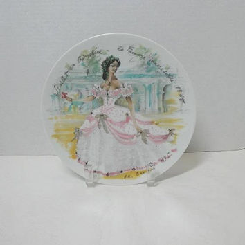 1975 Vintage Scarlet en Crinoline Porcelain Plate, la Femme Inaccessible in 1865, D-Arceau-Limoges, Ganeau, Plate I Women of the Century