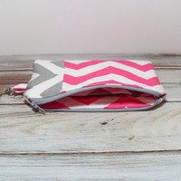 Pink Clutch Purse  - Pink Gray Chevron - Change Purse - Cell Phone Wallet - Zipper Pouch - Coin Purse - Money Wallet