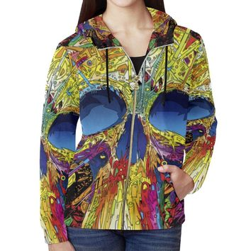 Sugar Skull Women's All Over Print Full Zip Hoodie