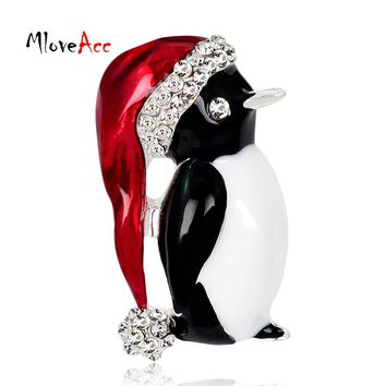 MloveAcc Lovely Penguin Brooches Christmas Gifts Enamel Rhinestones Ball Red Hat Penguin Christmas Brooch for the New Year