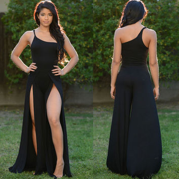 Black Open Legs One-shoulder Apollo Jumpsuit