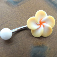 Yellow White Hawaiian Flower Plumeria Belly Button Ring Hawaii Navel Stud Jewelry Bar Barbell Piercing Tropical Hibiscus