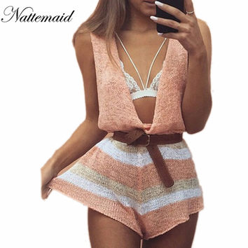 2016 Spring Summer knitted jumpsuits women rompers Drop v neck loose short jumpsuit Female  sleeveless Novel pattern