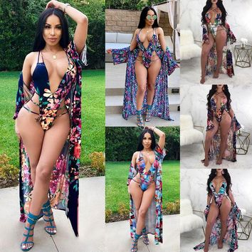 6abfaf1900 2018 Summer 2Pcs Swimwear Women Bandage One Piece Swimsuit + Floral Beach  Cover Up 2 Piece