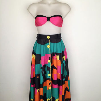 Vintage 1980s 'Anna Club' colourful Mexican print cotton skirt with button front / Made in Italy