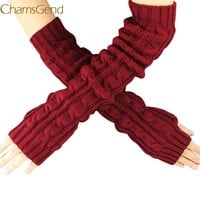 Shocking Show Hemp Flowers  Fingerless Knitted Long Gloves Free Shipping