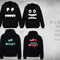 Cute Matching Mr. Right & Mrs. Always Right Couple Hoodie