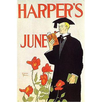 VINTAGE MAG COVER poster HARPER'S JUNE edward penfield US 1900 24X36 PRIZED