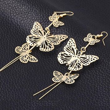 Women Girl Cheap Nightclubs punk rock hollow butterfly gold silver alloy dangle earrings pendant ali express jewelry #30