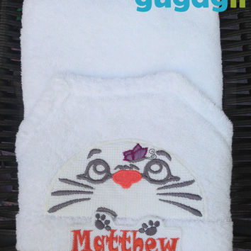 Personalized Baby Towel, Hooded Baby Towel, hooded towel, baby bath towel, embroidered baby towel, Cotton Towel, white baby towel,baby towel