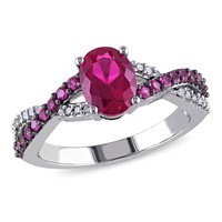1/10 CT  Diamond TW And 2 1/3 CT TGW Created Ruby Fashion Ring  10k White Gold GH I2;I3 Black Rhodium Plated