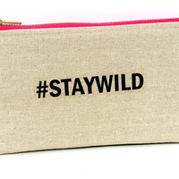 Staywild: Makeup bag,Cosmetics .This very soft zipper pouch can be used for a anything. Large enough to fit Iphone 6 plus or Galaxy note 4