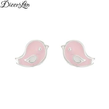 New Arrivals 925 Sterling Silver Pink Bird Earrings For Women Hot Fashion Jewelry sterling-silver-jewelry pendientes