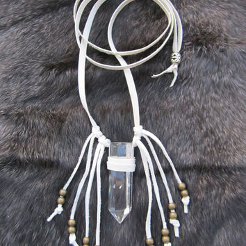 Crystal Quartz Necklace. Leather Wrapped Quartz Necklace. White Leather Fringe Necklace. Boho.