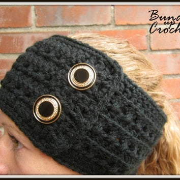 Crochet Headband Earwarmer Accessory Warm for Fall Winter with Two Gold Buttons Ear Warmer Christmas Gift Present Black Dark Color