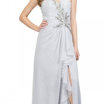 Prom Gown Chiffon Silver Front Slit Strapless Floor Length