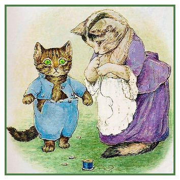 Mama Sews Tom Kitten's Coat inspired by Beatrix Potter Counted Cross Stitch or Counted Needlepoint Pattern
