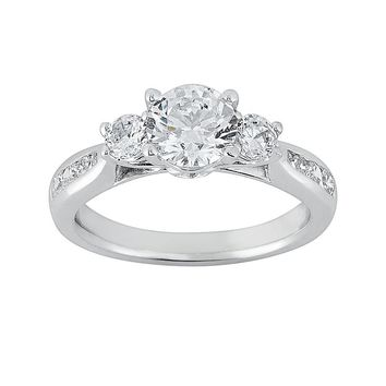 Cherish Always Round-Cut Diamond Engagement Ring in 14k White Gold (1 3/8 ct. T.W.)