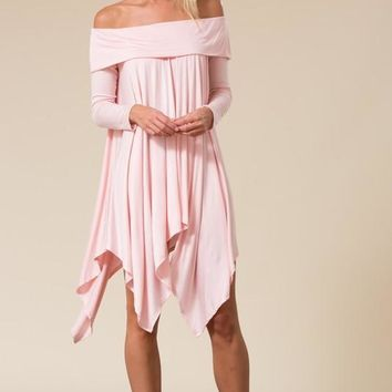 Long Sleeve Off Shoulder Handkerchief Mini Dress with Pockets