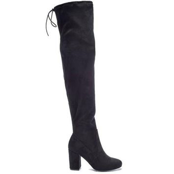 Chinese Laundry Kiara  Black Suede High Heel Boot