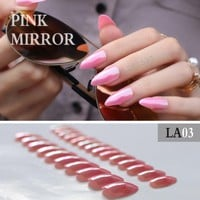 Full cover stiletto nails Tips Metal pink False nail Lovely Mirror 24pcs mountain peak laser Finished product Fake Nails Pointed