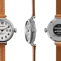 Shinola 'The Birdy' Bracelet Watch Grey Leather Strap, 34mm