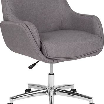 Rochelle Home and Office Upholstered Mid-Back Chair in Light Gray Fabric [BT-1172-LGY-F-GG]