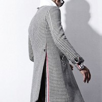 Thom Houndstooth Woolen Single Breasted Coat