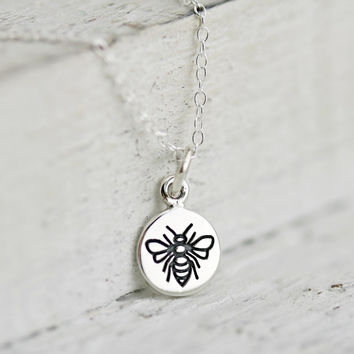 Tiny Bee Necklace - Sterling Silver Bumble Bee Necklace - Honey Bee Necklace - Round Bee Charm - Tiny Honeybee Necklace - Bee Pendant
