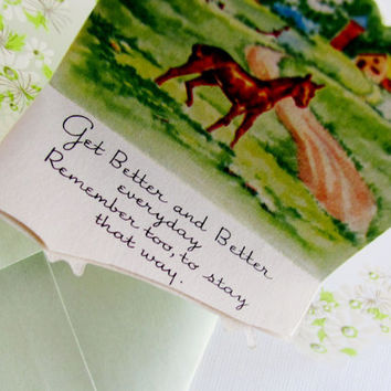 Vintage Get Well Greeting Card Clean Unused Little Gems Paper On Plastic With Original Green Envelope Rural Scene Of Horse Ranch Farm