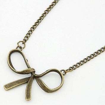 N122 Vintage Bow Pendant Necklaces Fashion Jewelry Women Charm Necklace Collares
