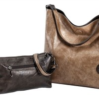 Sydney Love Ladies Reversible Hobo Bag with Inner Pouch - Olive and Bronze