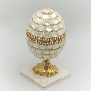Mother of  Pearl Jewelry Box, Natural Pearl, Faberge Style Decorated Egg