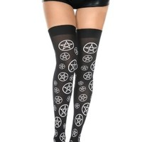 Music Legs | Pentacle Print Thigh High - Buy Online Australia Tragic Beautiful