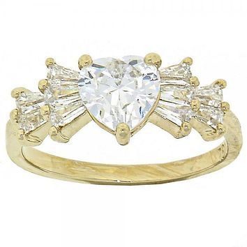 Gold Layered Mult-stone Ring, Heart and Baguette Design, with Cubic Zirconia, Gold Tone