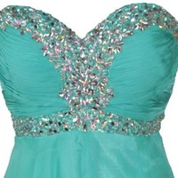 Meier Women's Strapless Rhinestone Chiffon A Line Prom Formal Dress (18, Jade)
