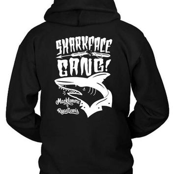 Macklemore And Ryan Lewis Shark Face Gang Shark Black And White Hoodie Two Sided