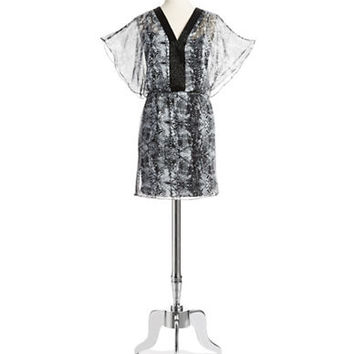 Belle By Badgley Mischka Beaded Neck Blouson Dress