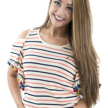 Women's Knitted Cold-Shoulder Striped Top