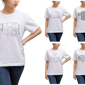 Women Hand drawn abstract farm animals Print Short Sleeves T-shirt WTS_17