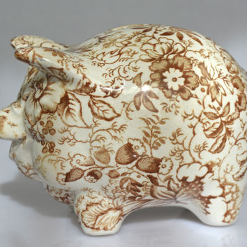 Vintage Figural Brown Transferware Chintz Staffordshire Money Box Pig Piggy Bank by James Kent Hard to Find