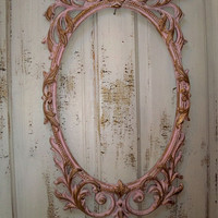 Large ornate frame vintage French pink and gold shabby chic distressed home decor Anita Spero