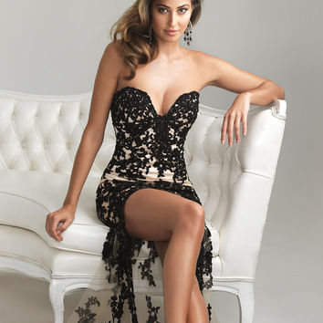 Black & Nude Satin & Lace Deep Sweetheart Hi-Lo Prom Dress - Unique Vintage - Cocktail, Pinup, Holiday & Prom Dresses.
