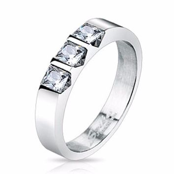 Triple Square Cut CZ Set Band Ring Stainless Steel