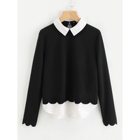 Contrast Collar And Hem Scalloped Blouse Black