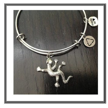 Stainless GECKO Charm Bracelet, 100% Stainless Steel Bangle & Charms, Gecko, Gecko charm, Lizard, Lizard charm