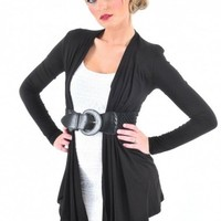 Open Front Belted Cardigan - Diva Hot Couture
