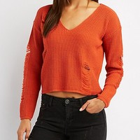 Distressed V-Neck Cropped Sweater