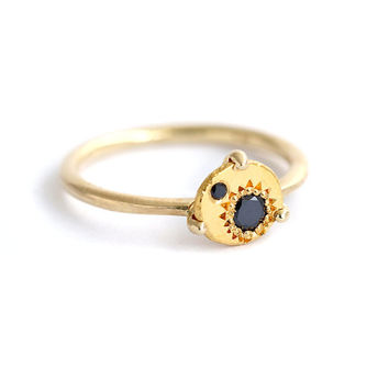 Gold Sun Ring, Promise Ring For Her, Black Diamond Ring, Bohemian Engagement Ring, Sun Eclipse Ring, Black Diamond Promis Ring