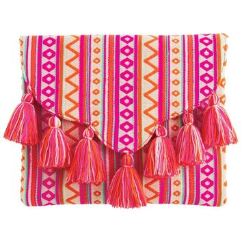 Tassel Pink Envelope Clutch By Mud Pie